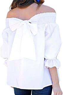 FSSE Women's Casual Off Shoulder 1/2 Sleeve Bow Solid T-Shirt Blouse Top