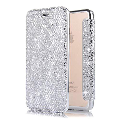 QPOLLY Cover Compatibile con iPhone 5S/5/SE Brillantini Glitter PU Pelle Portafoglio Libro Placcatura Custodia Trasparente Morbido Silicone Back Cover con Chiusura Magnetica Funzione Supporto