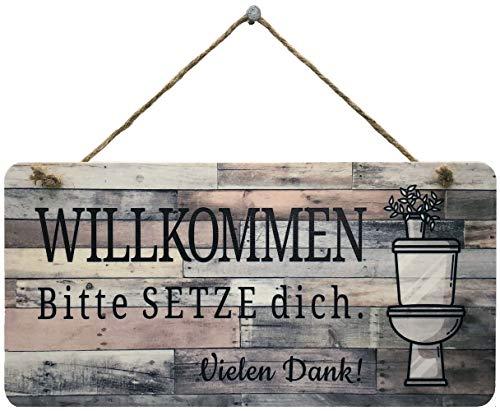 Bad Deko Schild für die Toilette   Im Sitzen Pinkeln Lustiges WC Schild für Gäste WC oder als Einzugsgeschenk   Bitte Setzen Toilettenschild WC Deko im Badezimmer (Pflanze-braun, 30 x 15 cm)