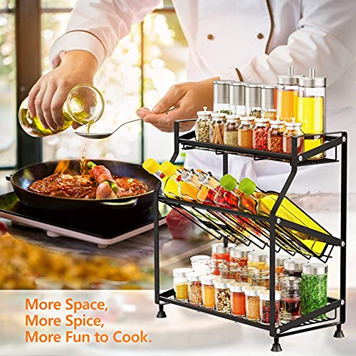 Spice Rack, Ace Teah 3 Tier Larger Spice Rack Organizer for Countertop, Bathroom Countertop Organizer Rustproof Spice Shelf for Kitchen Countertop Organizer, Black