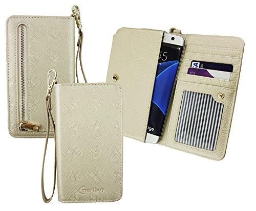 Emartbuy® Light Gold PU Leder Kupplung Geldbörse Hülle Tasche Sleeve (Größe 3XL) Mit Münzfach, Kartensteckplätze & Abnehmbare Handschlaufe Geeignet Für Elephone S3 Lite