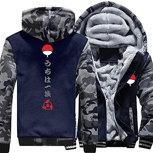Sudaderas con capucha para hombre Sudaderas para Naruto Uchiha Espesar Pullover Sudadera con capucha Chaquetas de cremallera completa Uniforme Cálido Grueso Abrigos acolchados Ropa de invierno,A-Small
