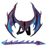 MMOO Pu Foam Dragon Wings Parties Cosplay Pretend Play Dress Up Wings (Blue+Tail)