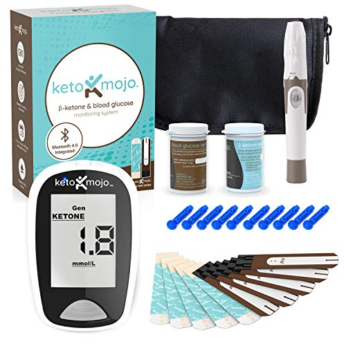 KETO-MOJO Bluetooth Blood Ketone and Glucose Testing Kit -10 Ketone & 10 Glucose Test Strips, 10 Lancets, 1 Meter, 1 Lancing Device, Monitor Your Ketogenic Diet