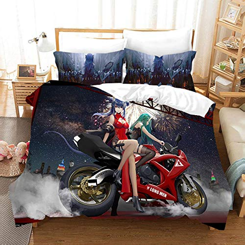 3D Print Duvet Cover -Cartoon Locomotive Beauty - Set Double Size Bedding Set Microfiber Polyester Comforter Cover Print with 2 Pillowcases 3 Piece Set 53.15 X 78.74 inch