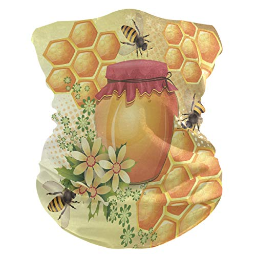 Sawhonn Honing Bee Bloem Gezicht Masker Hoofdband Bandana Balaclavas Neck Gaiter Magic Sjaal Hoofddeksels voor Outdoor Vrouwen Mannen