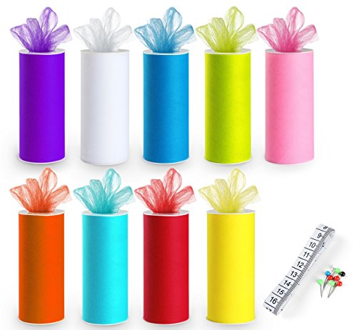 9 Tulle Rolls Rainbow Tulle Colors Roll Fabric Spool 6'' by 25 Yard Spool for Wedding Tutu and Table Skirt Decoration