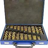McTech - set professionale di punte in metallo elicoidali da trapano, da muratura, HSS, 170 pezzi, punte split point, per pietra levigata