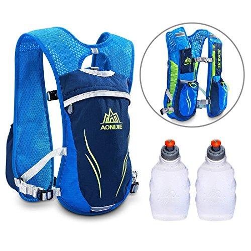 AONIJIE Professional 5.5L Trinkrucksack Hydrationspack mit 2 Stück Trinkflaschen für Marathon Radfahren Laufen (Blau mit 2 Stück 250ML Trinkflaschen)