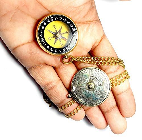 2 fotos de brújula magnética y colador 40 años de oro antigüedades náuticas estilo vintage latón dorado llavero calendario antiguo hermoso coleccionable.