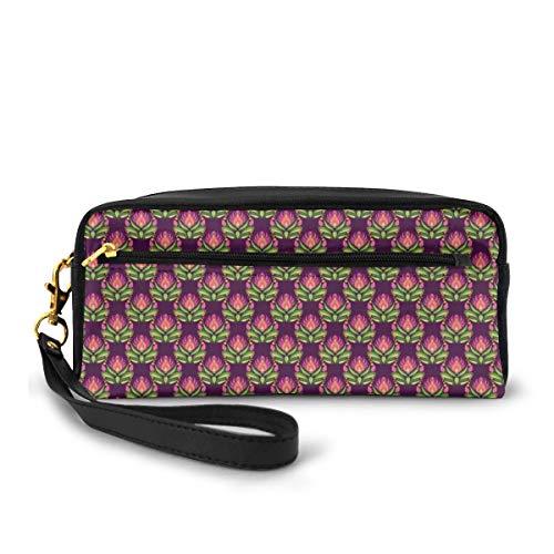Pencil Case Pen Bag Pouch Stationary,Floral Art Pattern East European Folkloric Style Vintage Blossoms,Small Makeup Bag Coin Purse