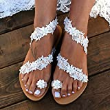 Fukasse Flat Sandals For Women Bohemian Lace Flower Beaded Toe Rings Sandals Beach Wedding Dressy Sandals Walking Shoes Travel Summer Beach Boho Casual Slipper Shoes