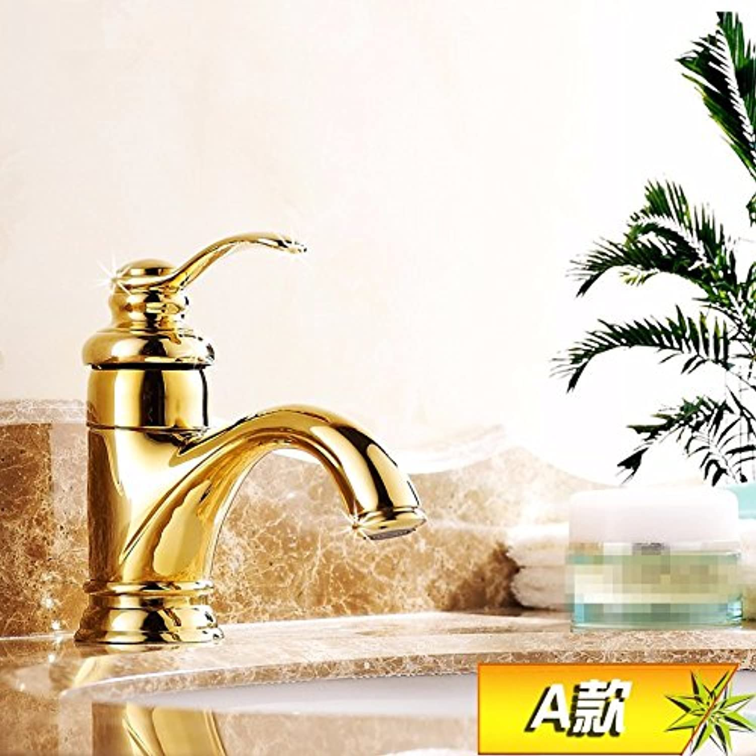 Hlluya Professional Sink Mixer Tap Kitchen Faucet The golden taps carved full copper hot and cold basin basin vanity area with sink single hole,