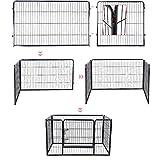 Songmics Welpenauslauf für Hunde Kaninchen kleine Haustiere 122 x 70 x 80 cm schwarz PPK74H - 7