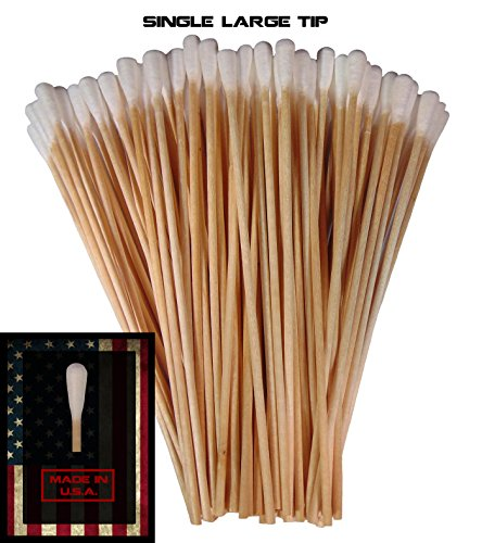 (Single Sided Tapered Tip) Type-III 100pc Gun Cleaning 6 Inch American Made Cotton Swabs