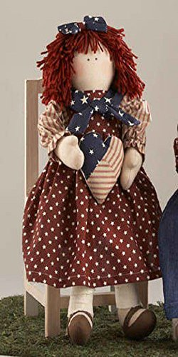 Delton Products 18 Inches Red Star Skirt Americana Doll with Heart Collectible Doll