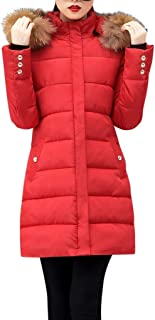 Winter Warm Jacket Long Down Faux Fur Hooded Quilted Sherpa Lined Coat