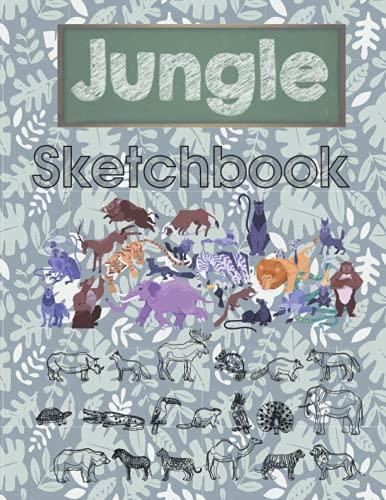 Jungle Sketchbook: sketchbook for kids ages 4-8 animals ,111 Pages - Large 8.5 x 11 , sketchbook for kids ages 4-8 , sketchbook for drawing and sketching , sketchbook for toddlers , sketchbook 8.5x11