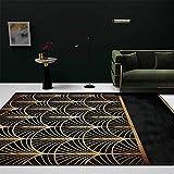 La alfombras articulos de Cocina Alfombra de Lujo Ligera de la Sala de Estar con Forma de Abanico geométrico Retro de Oro Negro Alfombra Limpieza alfombras Dormitorio Modernas 50*80cm