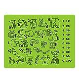 Apto para uso alimentario de silicona manteles individuales adhesiva para bebés/niños/niños/niños – 100% libre de BPA y aprobado por la FDA – divertido y educativo cuadro Mats – 12 x 16 pulgadas