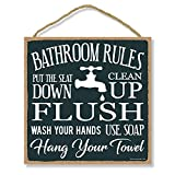 Honey Dew Gifts Bathroom Decoration, Bathroom Rules Flush, Seat Down, Clean Up 10 inch by 10 inch Hanging Decorative Wood Sign, Home Decor