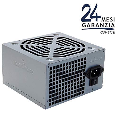 Tecnoware Free Silent Alimentatore per Office PC ATX, 500 W, Ventola 12 cm, 2 x SATA, 1 x 24 Poli, 1 x 12 V, 4 Poli, 2 x Molex, 1 x Floppy