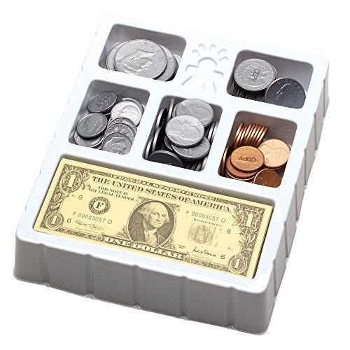 Educational Insights Play Money Coins & Bills Tray, Set of 200 Pieces of Play Money for Currency, Counting Skills & Pretend Play, Ages 5+