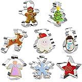 Olywee - Juego de 8 cortadores de galletas de Navidad para hombre de jengibre, copo de nieve, muñeco de nieve, Papá Noel, árbol de Navidad, alce, ángel.