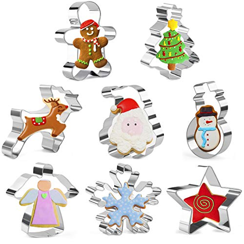 Olywee Weihnachten Ausstechformen Set aus 8 Lebkuchenmann, Schneeflocke, Schneemann, Weihnachtsmann, Weihnachtsbaum, Elch, Engel und ein Stern Edelstahl Weihnachten Ausstechform
