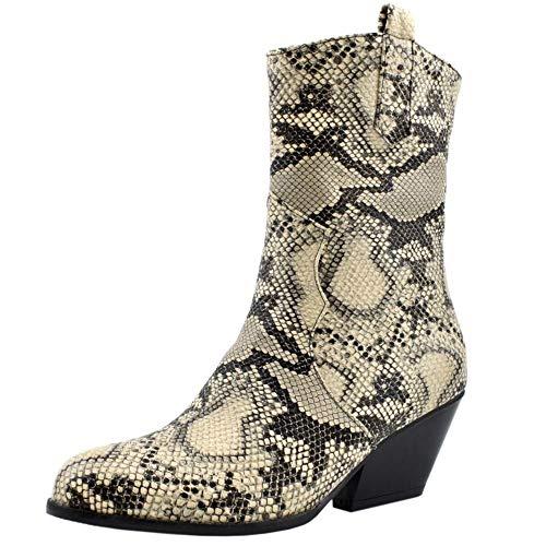Zanpa Damen Mode Western Booties Blockabsatz Reißverschluss Performance Stiefeletten Animal Print Knochel Stiefel Snake SeWenHuang Gr 48