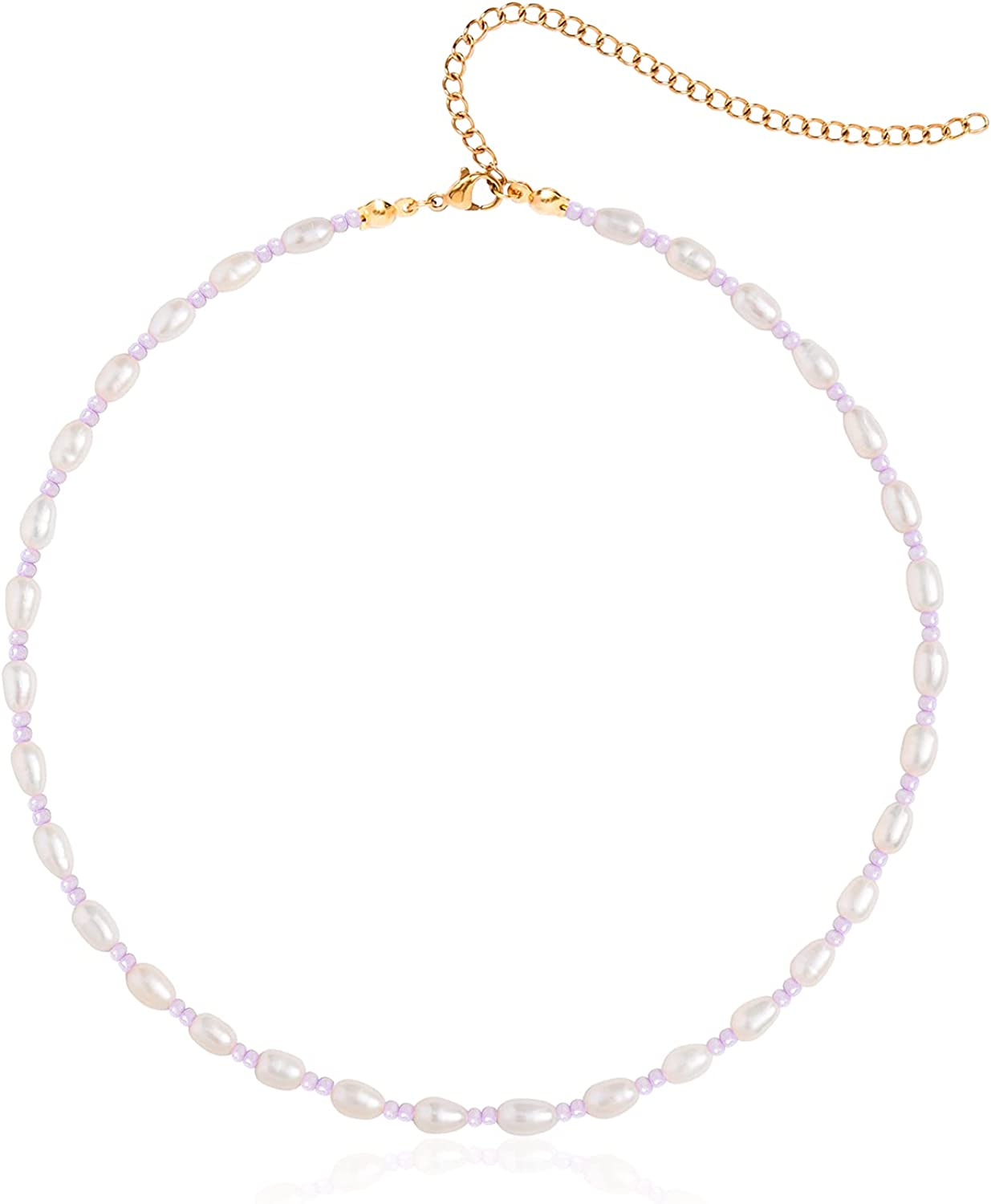 Wellike Freshwater Pearl Beaded Necklace for Women Bohemian White Daisy Flower Shell Beads Choker Necklace Seashell Stainless Steel 18K Gold Plated Extension Chain Necklace Vintage Elegant Women Jewelry Gift