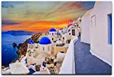 bestforhome 90x60cm Leinwandbild Santorin in Griechenland