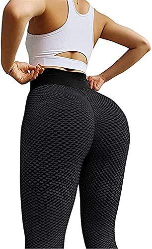Leggings sexis de cintura alta con escamas de tiburón, Leggings anticelulíticos con levantamiento de glúteos de cadera con burbujas de cintura alta, Leggings largos de poliéster para mujer (Negro, M)