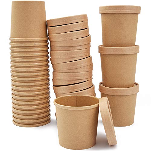 50 Pack 12 oz Disposable Soup Containers with Lids, Take Out Cups for Hot or Cold Food to Go