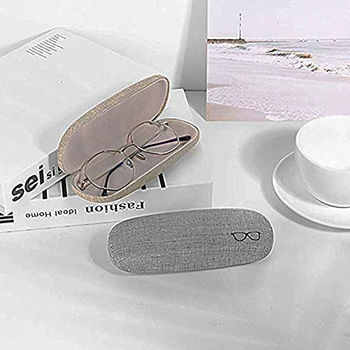 KMDJG818 3 Pcs Hard Shell Eyeglasses Case, Fabric Portable Linen Drawstring Bag for Glass Storage for Daily Using khaki Blue Purple Green Random Color, Medium