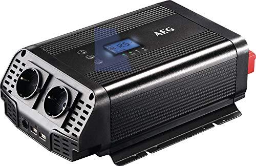AEG Automotive 10059 sinus omvormer, auto-vrachtwagen spanningsomvormer/converter 600 Watt 12 V op 230 V, overspanningsbeveiliging, mobiel stopcontact