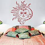 Sun Moon Wall Decal Sticker Símbolo Étnico Etiqueta De La Pared Dormitorio Dormitorio Bohemia Bohemia Ropa De Cama Artista De La Pared Decoración Del Hogar Sticker75X81Cm