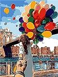 Pintura por números para adultos-Globo volador principiante DIY pintura al óleo lienzo Kit pintado a mano obra de arte regalo de vacaciones decoración del hogar 40x50cm