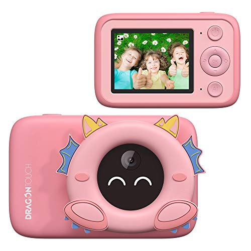 Dragon Touch Aicam Kids Camera, Digital Camera with AI Photo Recognition, Educational Toy for Kids, Toddler Camera WiFi Connection, Best Birthday Gift for 3-12 Years Boys and Girls(Pink)