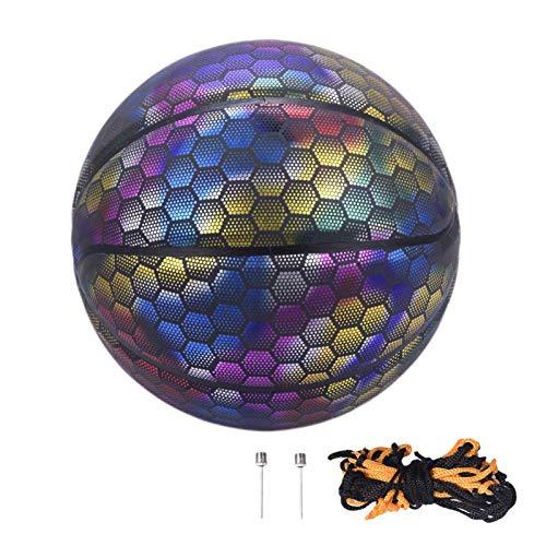 Rubyu-123 Holographic Glowing Reflective Basketball Light Up Glow in The Dark - Balón de baloncesto holográfico tamaño 7, para interior y exterior