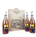 Estuche madera 3 botellas OLE DE ROSÉ Vino rosado joven Bobal 75cl-Añada 2017 D.O.Manchuela