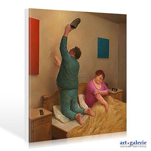 Art-Galerie Leinwandbild Marius Van Dokkum - Mosquito - 30 x 30cm - Premiumqualität -, Karikatur, altes Ehepaar, Mücke, Mückenstiche, Mückenjagd, Schlaf, Nachtruhe, lustig. - Made IN Germany SHOPde
