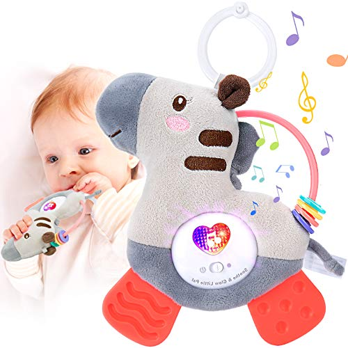 Baby Teething Toy with Teethers Soothing Musics Color Rattle amp Soft Light Washable Plush Infant Toy Sensory Baby Toy Perfect Gift for Baby amp Mother Suitable for Crib Stroller amp Carseat