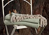 EHC - Manta grande reversible de lujo de algodón súper suave con forma de diamante para sofá, cama doble, sillón - Verde, 150 x 200 cm