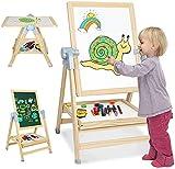 Cavalletto di Legno per Bambini| 4 in 1 Lavagna Magnetica Regolabile su due lati e Lavagna a Gesso, Cavalletti da Pittura Rotanti a 360 Gradi con Molti Accessori, Regalo per Bambini, Ragazzi e Ragazze