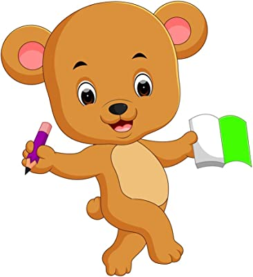 5 Ace Studying Teddy |Kids Room Posters|Poster for Play Schools|Cartoon Poster|Poster for Every Room,Office, Gym|Learning Poster|Self Adesive Sticker Paper Poster by 5Ace