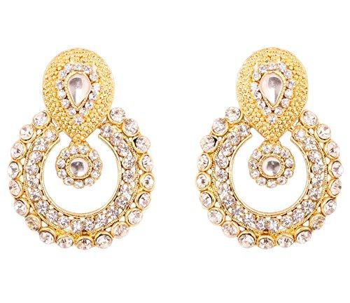 Joyería Touchstone de la aleación de Paisley del indio de la luna Chaand Blanco Rhinestone tradicional diseñador Pendientes en oro antiguo del tono para las mujeres
