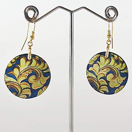 Pendientes de cerámica - CALTAGIRONE - Pendientes para mujer, Joyas de porcelana,...