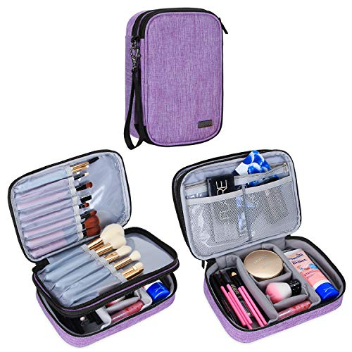 "Teamoy Travel Makeup Brush Case(up to 8.8""), Professional Makeup Train Organizer Bag with Handle"