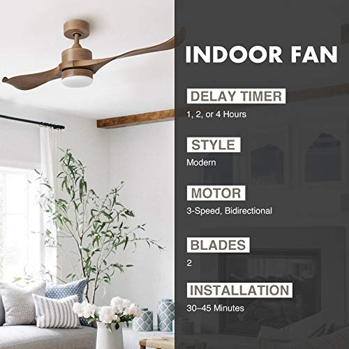 CO-Z 52-Inch Ceiling Fan Natural Walnut Finish with 2 Walnut Color ABS Blades and White Glass 15W LED Light Kit (Natural Walnut)